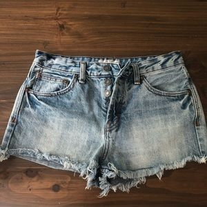 Free people denim cut off button fly shorts